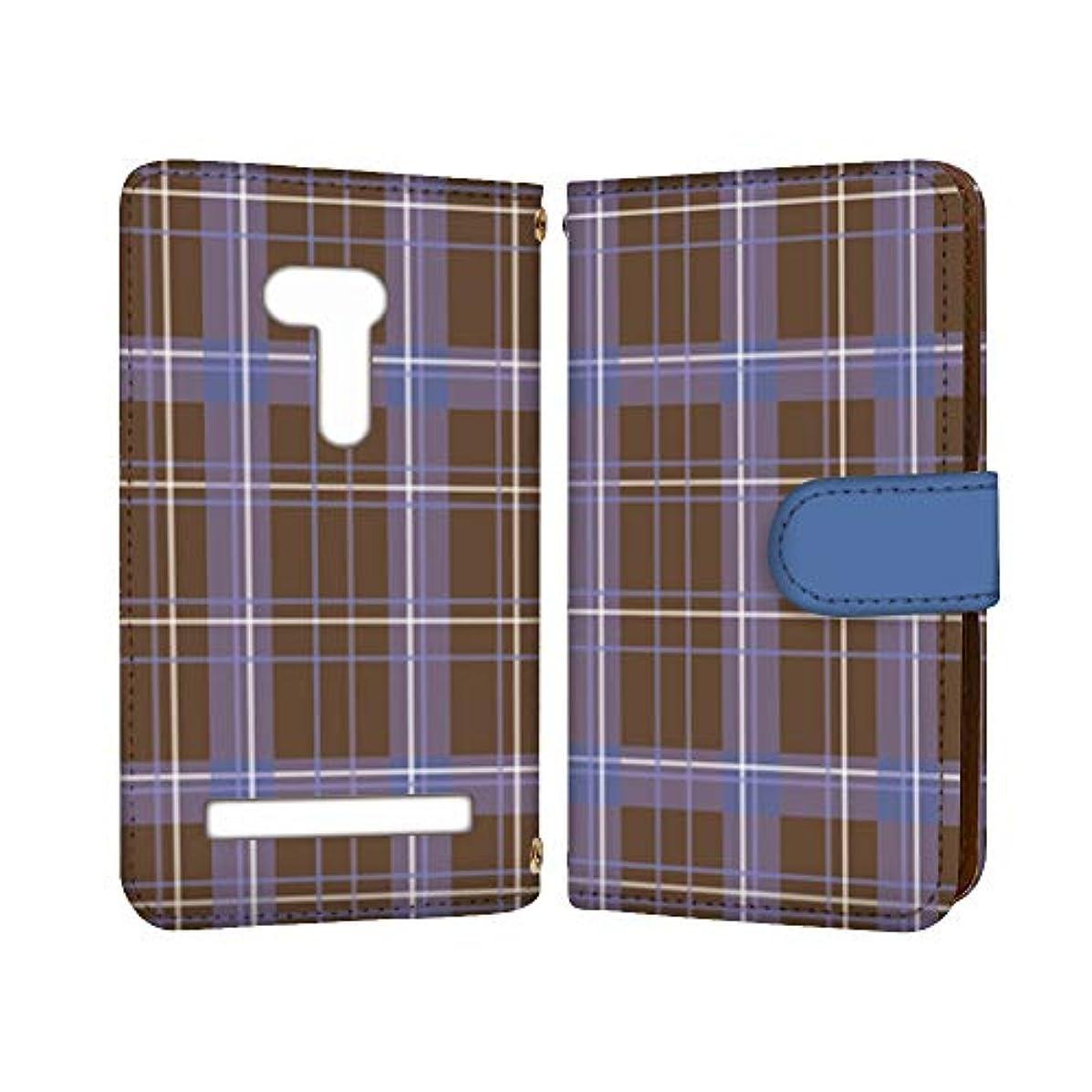 頬宿ピューanve ZenFone Go ZB551KL 国内生産 カード スマホケース 手帳型 ASUS エイスース ゼンフォン ゴー 【C.ブルー】 チェック柄 格子柄 best_vc-582