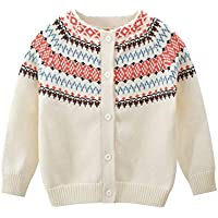 JGJSTAR Girls Cable Knit Striped Cardigan Sweater Christmas Baby Toddlers Long Sleeve Outwear 1T-6T (Beige, 1T-2T)