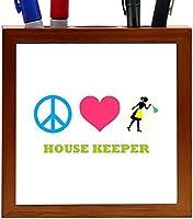 Rikki Knight Peace Love House Keeper Design 5-Inch Tile Wooden Tile Pen Holder (RK-PH41527) [並行輸入品]