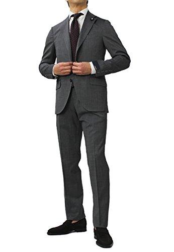 LARDINI ウール シャークスキン 3釦段返り ワンプリーツ スーツ