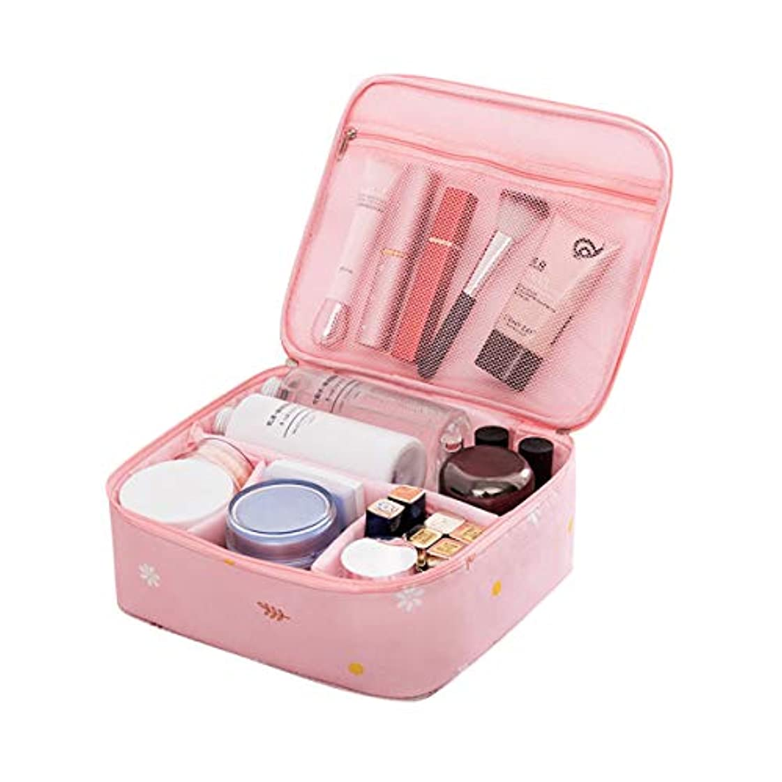 飢名声プレフィックスCoolzon化粧ポーチ 防水 機能的 大容量 化粧バッグ 軽量 化粧品収納 メイクボックス 折畳式 可愛い 旅行 出張(ピンク)