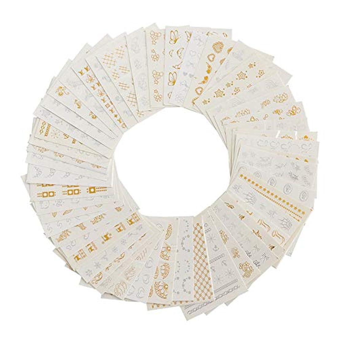 ネイルホイル ゴールド シルバー 羽毛ネイルステッカー ウォーターネイルシール ネイルアート デコレーション パーツ 30枚セット