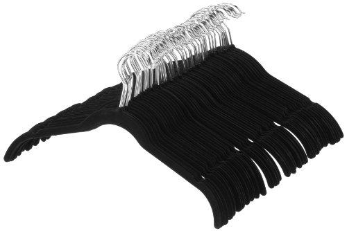 Amazonベーシック ハンガー スーツ/ドレス用 ベルベット 50点セット ブラック