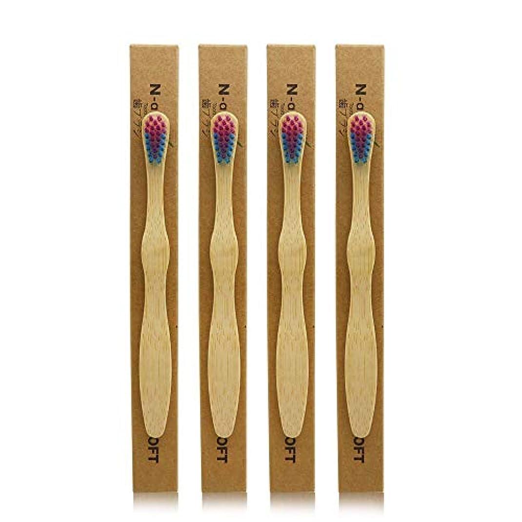 レシピ選出するアレルギーN-amboo 竹製耐久度高い 子供 歯ブラシ エコ 4本入り セット むらさきいろ