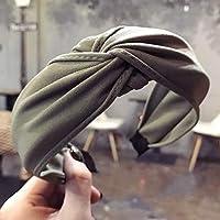 YBAA Solid Color Cloth Cross Hairband Women's Headband Simple Fashion Wide Sports Headband Girl Headdress (Color : 3 Gray Green)
