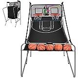 zazza95shop 室内バスケットボールアーケードルームゲーム ダブル電子スコアリングボードフープショット 2プレーヤー ゴムボール4個付き スポーツメーカー おもちゃ キッズ パーティー 耐久性 パウダーコーティング スチール ホームファン
