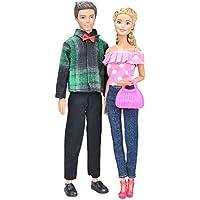 E-TING バービー服 バービーとケン 2セットのバービーと恋人のデート服+ 2組の靴+バービーのピンクカバン 恋人デート服 恋人ケン王子 バービージーンズ バービー靴 29cmのバービーに合う