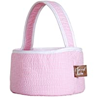 Trend Lab Pink Gingham Seersucker Collapsible Round Caddy by Trend Lab