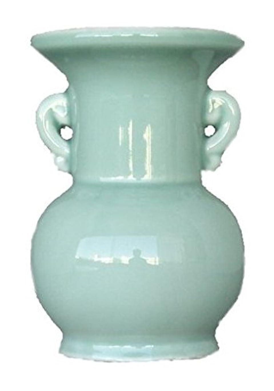 改修真鍮剣仏具用 花瓶 青 大 4寸