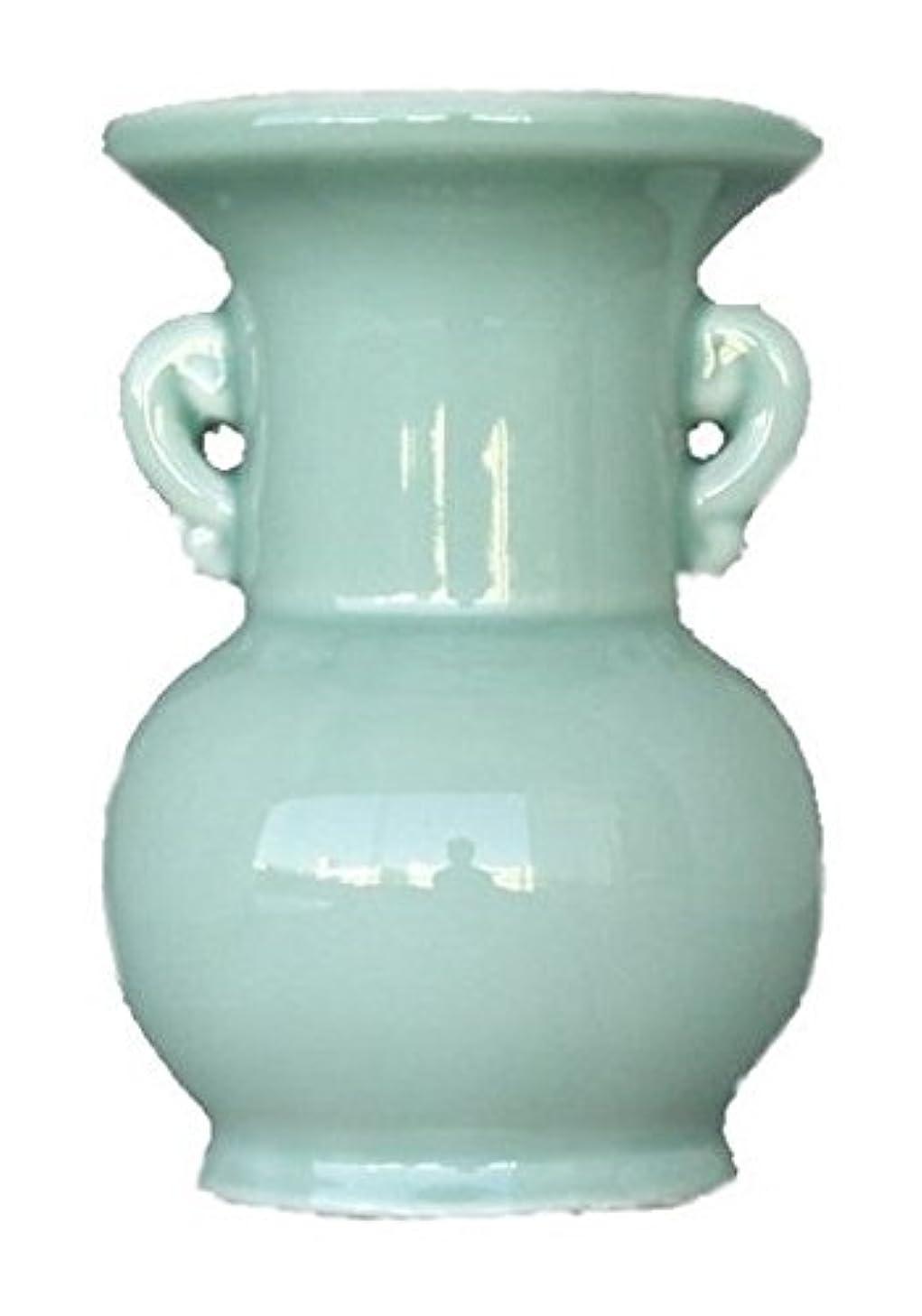 上にアーティスト振り返る仏具用 花瓶 青 大 4寸