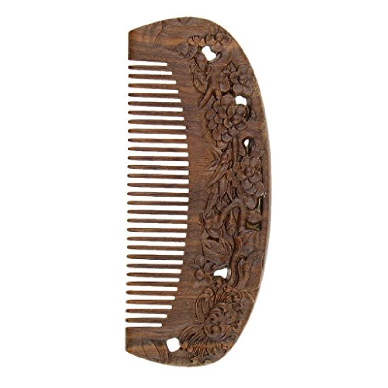 プロフェッショナル過言致死Perfeclan ウッドコーム 天然木製 高品質 木製櫛 ワイド歯 ヘアブラシ ヘアスタイリング ヘアコーム 2タイプ選べる - #2