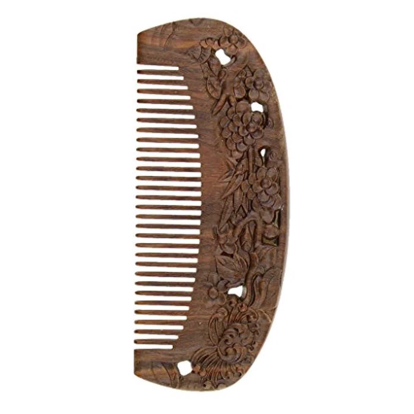 クローンタイル脅かすウッドコーム 天然木製 高品質 木製櫛 ワイド歯 ヘアブラシ ヘアスタイリング ヘアコーム 2タイプ選べる - #2