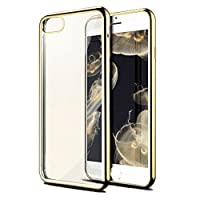 Iphone 7 Plus Case Vteyes Transparent Clear Soft TPU Gel Shockproof Cover For iPhone 7 Plus Gold [並行輸入品]