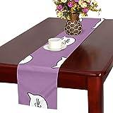 GGSXD テーブルランナー 幼い 紫色猫 クロス 食卓カバー 麻綿製 欧米 おしゃれ 16 Inch X 72 Inch (40cm X 182cm) キッチン ダイニング ホーム デコレーション モダン リビング 洗える