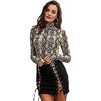 Glamaker Women's Sexy Long Sleeves Bodycon Snake Skin Print Bodysuit