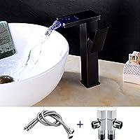 真鍮製の蛇口、浴室用、洗面台、シングルハンドル、温冷水、黒、LED照明、3色温度調節、蛇口
