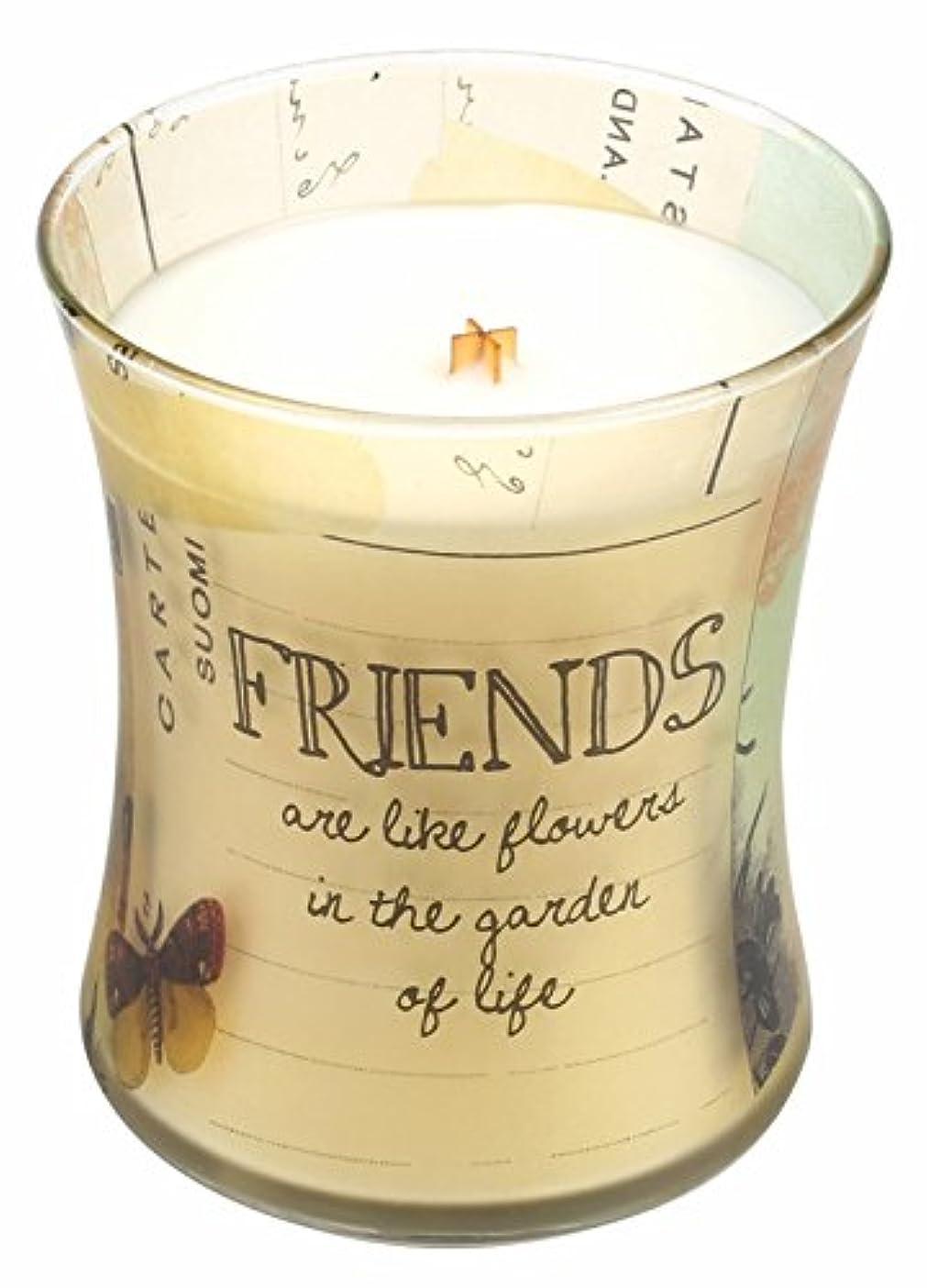 窓子猫おかしいFriends Vanilla Bean Inspirationalコレクション砂時計WoodWick Candle