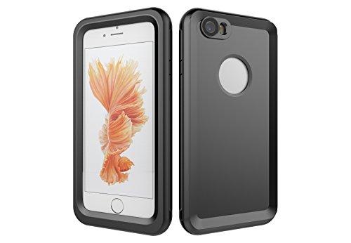 Iphone 6/6S 防水電話ケースは、HBER IP68完全密閉水泳ダイビング水中防塵耐雪性の耐震ヘビーデューティケースカバーは、iphone6/6Sのために敏感な画面タッチ指紋認証ロック解除をサポートしています (黒)