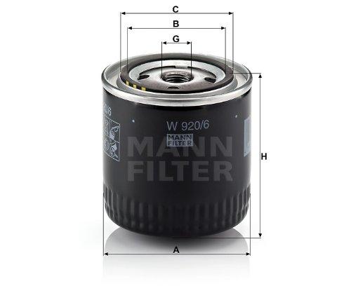 MANN オイルフィルター (ジープ/グランドチェロキー) W 920/6 【型式:GH-WJ40 初年:02/01-05/06】
