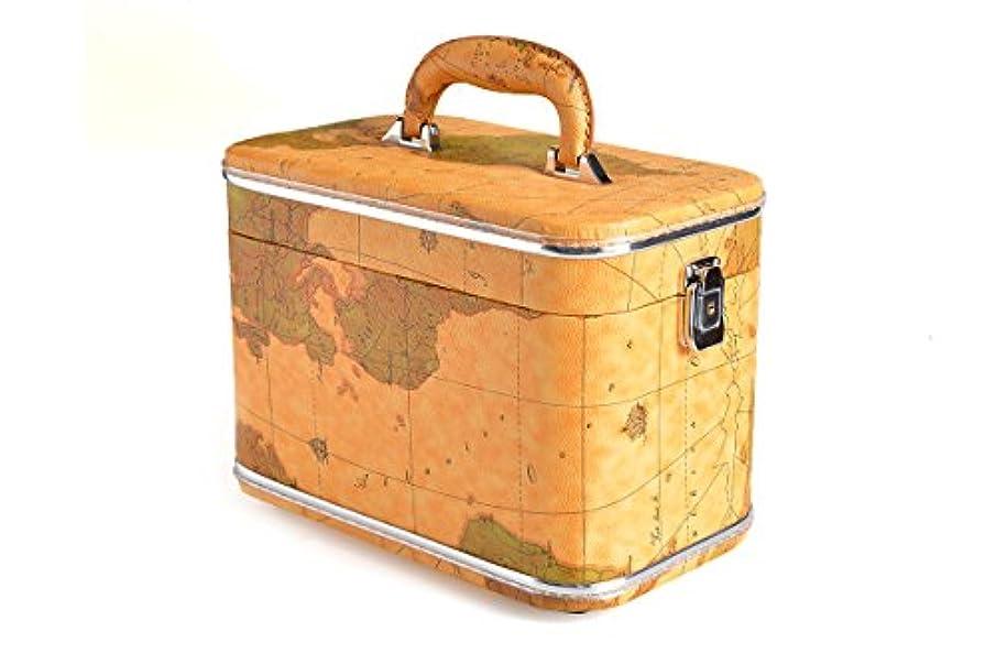 専門ウッズ蜂コスメボックス 化粧収納ボックス トレンケース 化粧雑貨 ポーチ (Z18/オールドマップ)