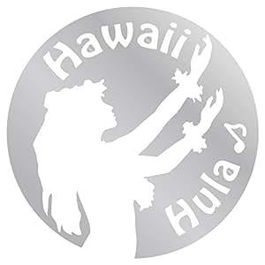 nc-smile ハワイアン ステッカー フラガール Hula Hawaii (シルバー)