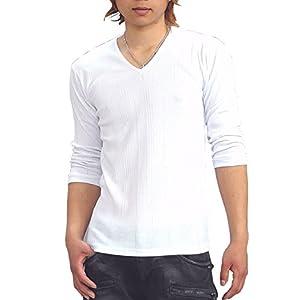 (スペイド) SPADE Tシャツ メンズ 無地 七分袖 カットソー Vネック プレーン【q424】 (XL, ホワイト)