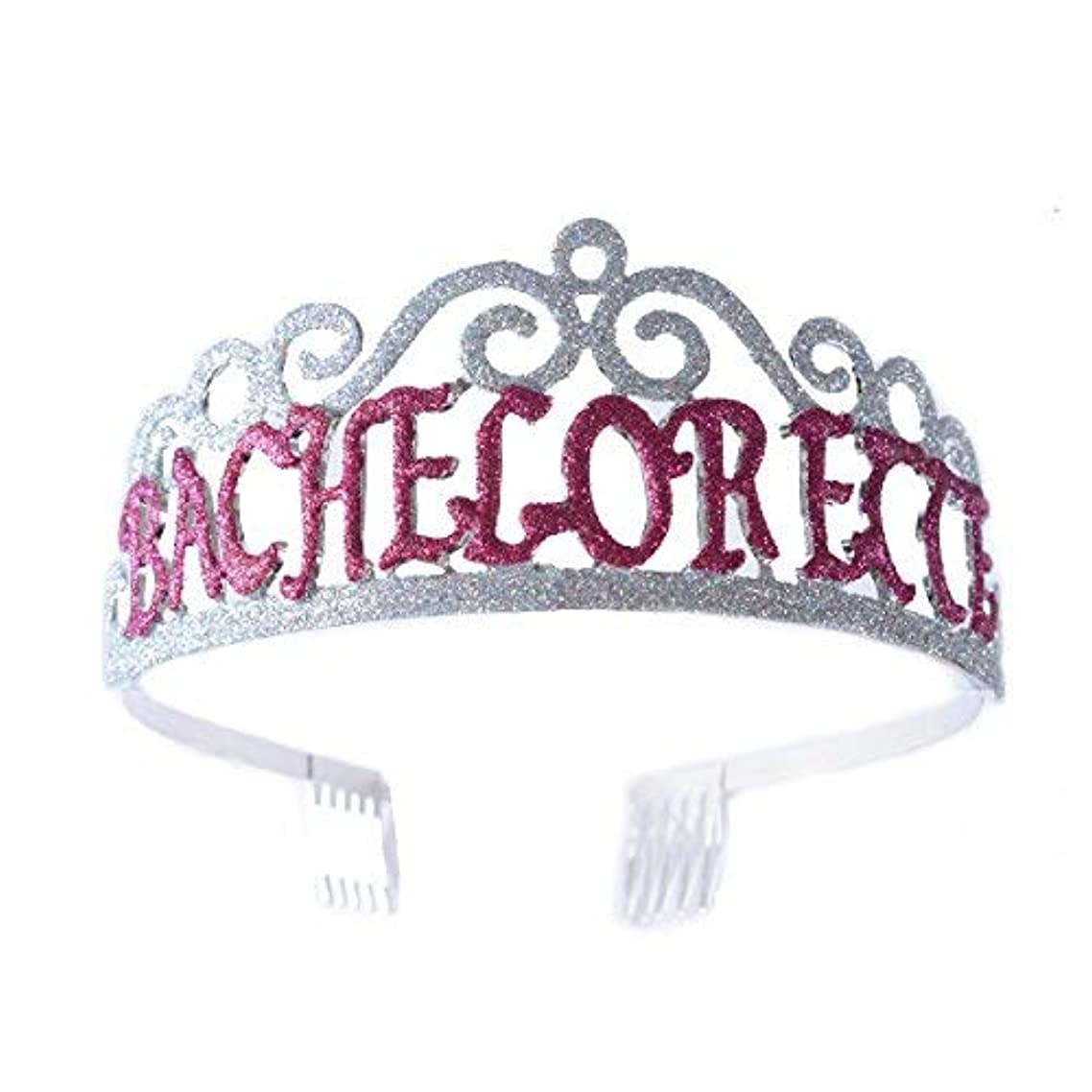 残酷な取得シンプルさFF Bachelorette Tiara Glittered Metal Combs with Silver AB Sequins [並行輸入品]
