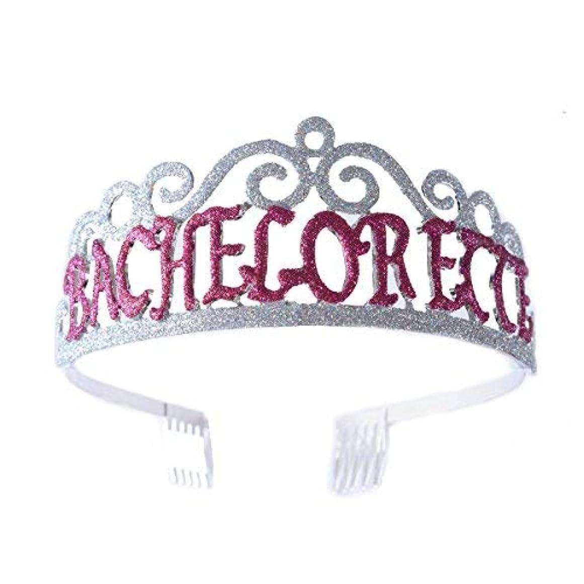 形状獲物制約FF Bachelorette Tiara Glittered Metal Combs with Silver AB Sequins [並行輸入品]