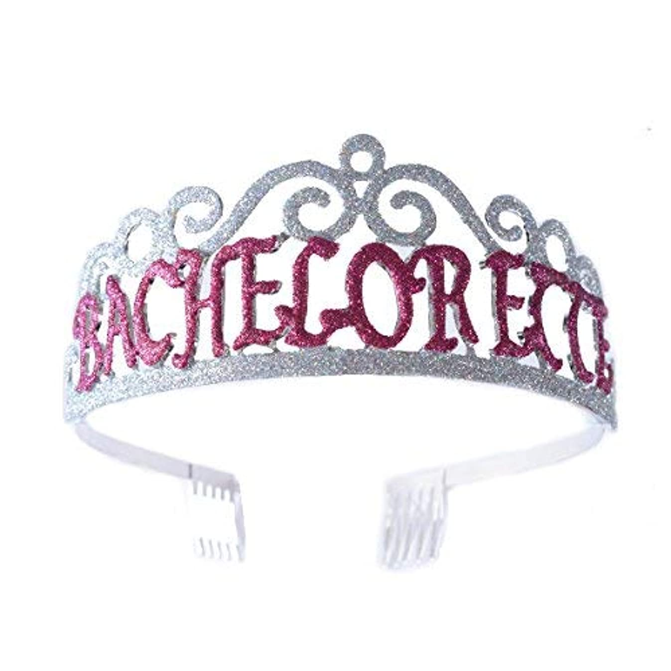 FF Bachelorette Tiara Glittered Metal Combs with Silver AB Sequins [並行輸入品]