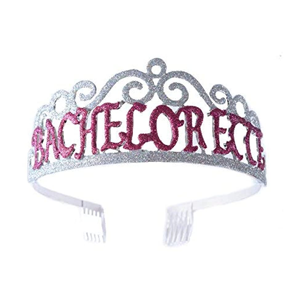 謝罪収束シュガーFF Bachelorette Tiara Glittered Metal Combs with Silver AB Sequins [並行輸入品]