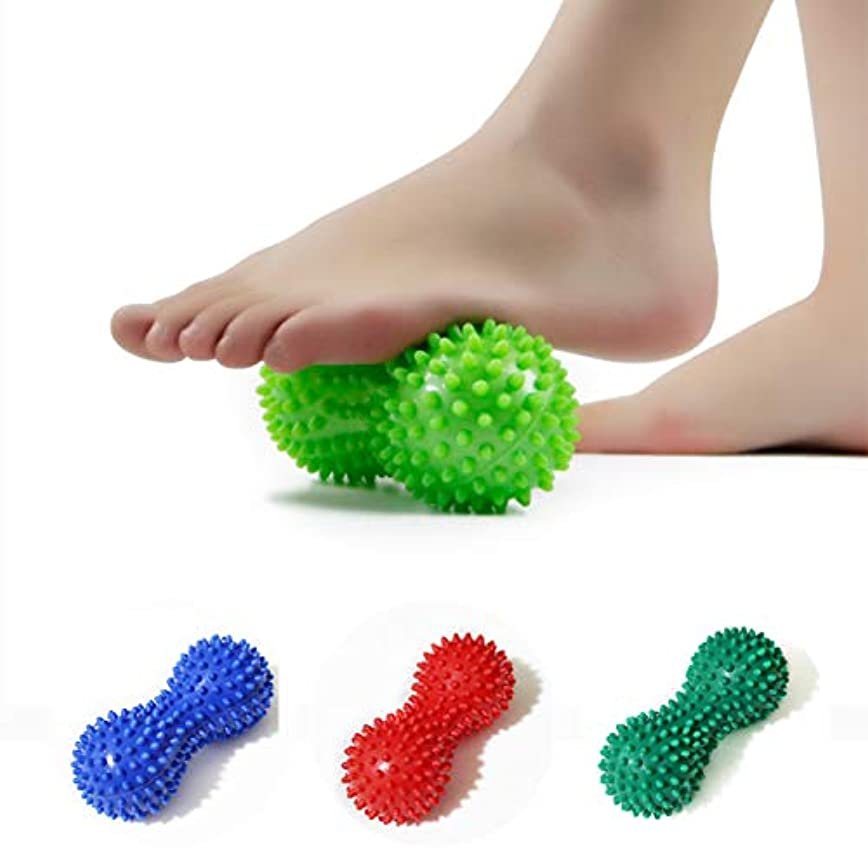 磨かれた瞬時に宣言するPeanut Shape Massage Yoga Sport Fitness Ball Durable PVC Stress Relief Body Hand Foot Spiky Massager Trigger Point...