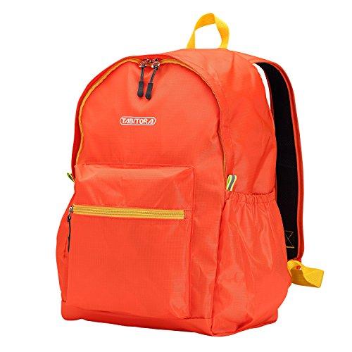 【タビトラ】TABITORA エコバッグ折りたたみ 軽量 防水 旅行 携帯バッグ 大容量 オレンジ