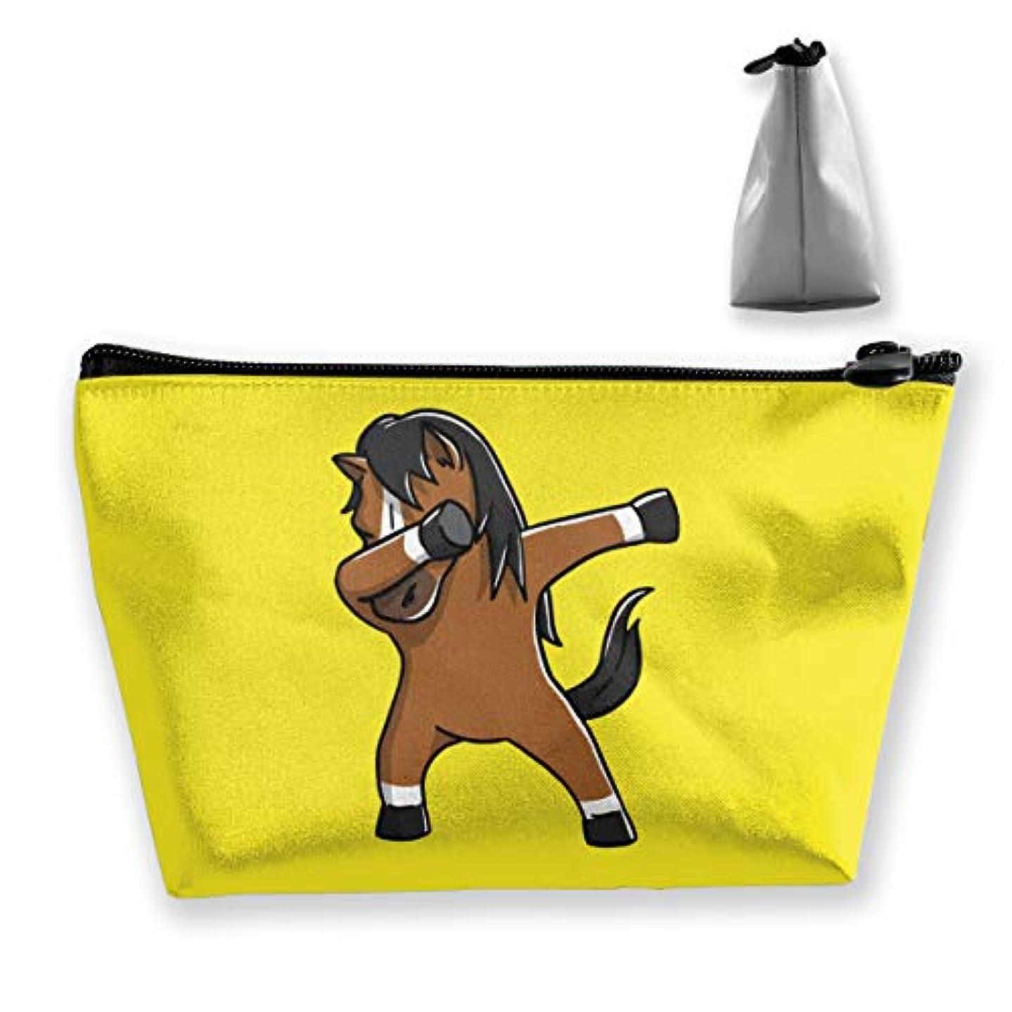 すべて膨張するレバーかわいい軽快な馬 収納ポーチ 化粧バッグ 大容量 台形 収納袋 小銭入れ 小物用ケース 携帯便利 防水 出張 旅行