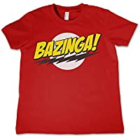 The Big Bang Theory T Shirt Bazinga Super Logo Official Kids Red 3-12yrs