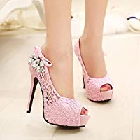 Fashion Wedding Heels,Bridesmaid High Heels, Fashion Princess High Heels, High Heel Sandals (Color : Pink, Size : 41)