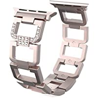 YUSHUANG Link Bracelet Compatible with Apple Watch Band, Diamond Bling Strap with Stainless Steel Buckle Compatible with iwatch Series 4 (44mm 40mm) Series 3, 2, 1, (42mm 38mm)