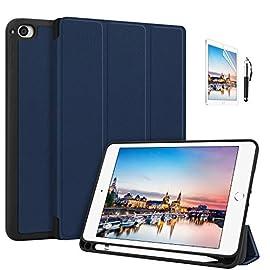 FamGift iPad mini 5 ケース (2019モデル) 軽量 薄型 ペンホルダー付き 三つ折りスタンド オートスリープ機能付き ハニカム放熱 全面保護 2019発売のiPad Mini5(第五世代) に対応 スマートカバー(ネービー)