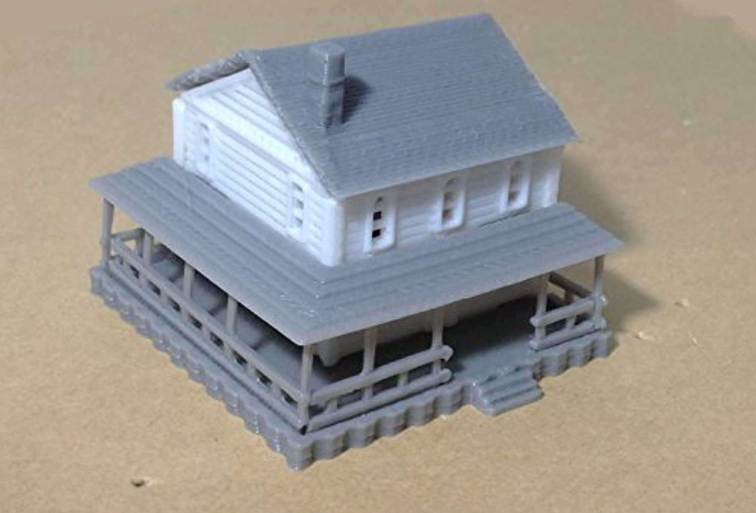 Outland Models Train Railway Layout Country 2-Story House White Z Scale 1:220