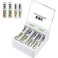 EBL 充電器充電池セット 二代目急速充電器+単三2800mAh(AA)/単四1100mAh(AAA) 両用型ニッケル充電池 各4本付き 同時充電可能