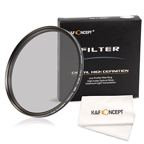 K&F Concept 77mm 超薄型CPL偏光フィルター反射除去用 Canon 6D 5D Mark II 5D Mark III Nikon D610 D700 D800 D7100 D5300デジタル一眼レフカメラ専用+レンズを拭く超極細繊維布ホワイト