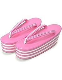 [ 京都きもの町 ] 七枚芯 草履単品 ピンク×白 フリー Lサイズ 成人式 結婚式の振袖に 振袖草履 卒業式の袴に