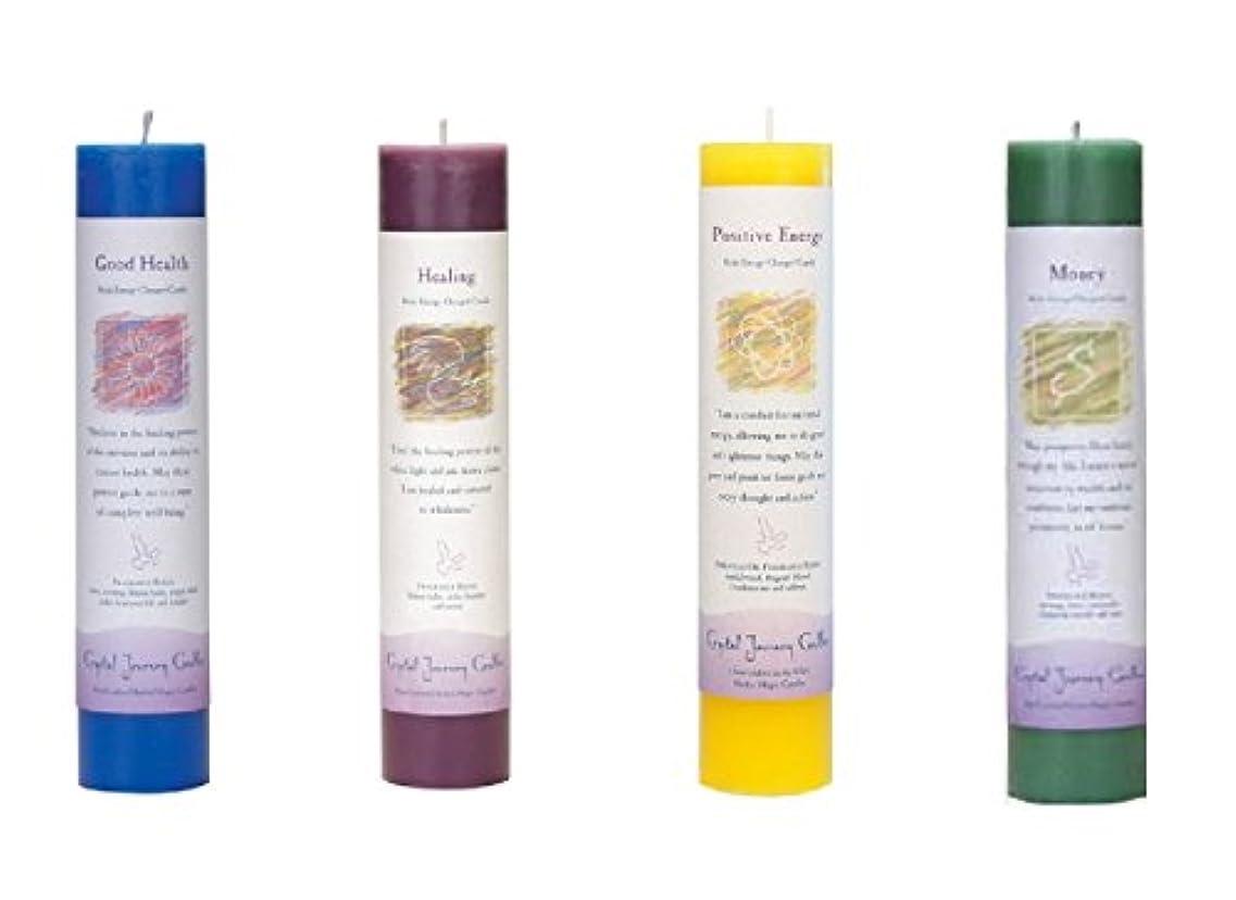 人形汗傭兵(Good Health, Healing, Positive Energy, Money) - Crystal Journey Reiki Charged Herbal Magic Pillar Candle Bundle...
