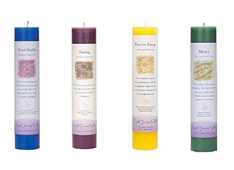 マルコポーロ広げる半球(Good Health, Healing, Positive Energy, Money) - Crystal Journey Reiki Charged Herbal Magic Pillar Candle Bundle...
