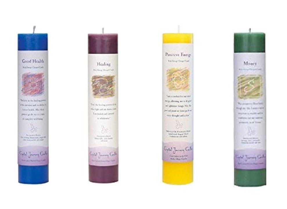 小説家首尾一貫した温室(Good Health, Healing, Positive Energy, Money) - Crystal Journey Reiki Charged Herbal Magic Pillar Candle Bundle...