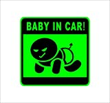 BABY IN CAR 不敵な笑み赤ん坊 緑 カッティングステッカー ウォールステッカー