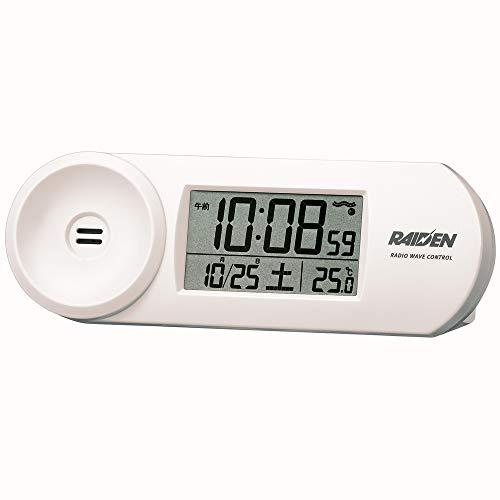 セイコークロック 置き時計 白 本体サイズ:5.1x14.4x4.2cm 電波 デジタル 大音量 PYXIS ピクシス RAIDEN BC407W
