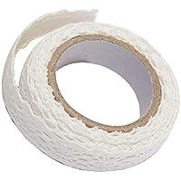 レーステープ、綿布レース生地テープ、両面接着剤装飾トリムリボンコットン生地テープ、DIYスクラップブッキング用1PCホワイト