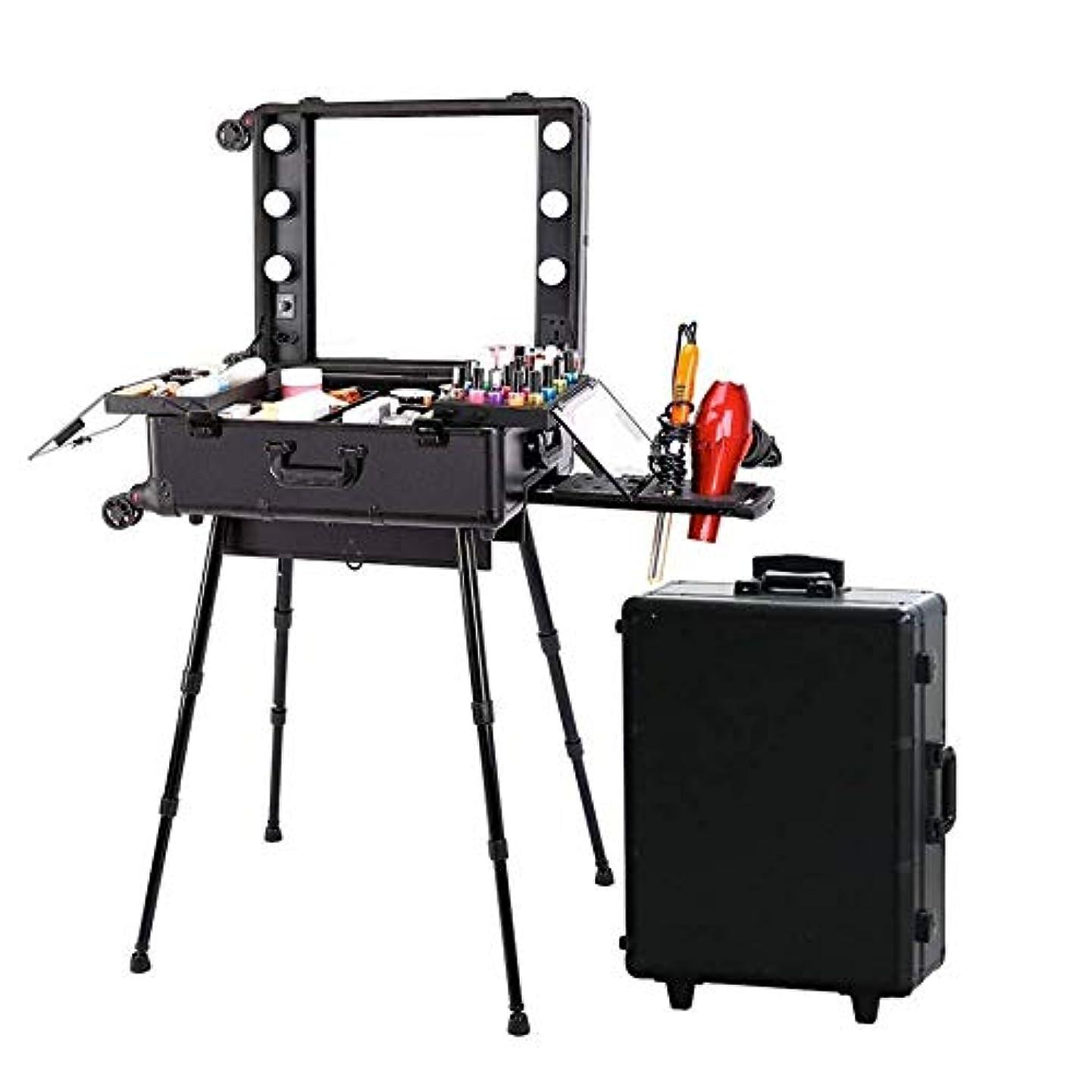 真実カウンタ原始的なLUVODI メイクボックス 鏡付き 大容量 プロ 用 鍵付き ドレッサー 化粧台 ライト 付き ハリウッドミラー led メイクケース メイクステーション スーツケース式 黒
