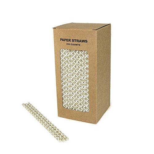 生分解性紙ストローペーパー吸引パイプバルク通常の固体使い捨てピペット、結婚式、誕生日パーティーまたは任意のテーマパーティ(250pack)に最適な環境に優しいストロー (ゴールドホワイト)