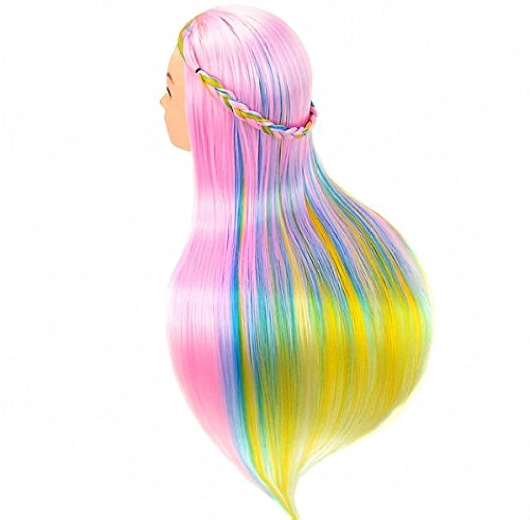 違法貫通占める[Perfehair] 人工毛100%のサロン練習用マネキンヘッド(24インチ)–レインボーカラー-